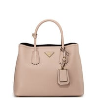 Saffiano Cuir Small Double Bag, Blush (Cammeo) - Prada