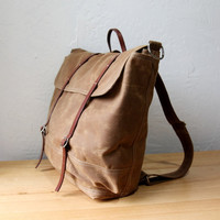 The Rucksack // Backpack in Saddle Brown Waxed Canvas by infusion