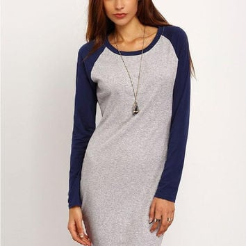 Grey Contrast Long Sleeve Sheath Mini Dress