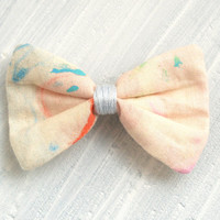 Small unique fabric Hair Bow Barrette, Speckled Blue, Red on Cream for women and girls.