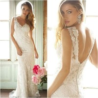2014 Sexy New V Neck Buttons Mermaid Lace Bridal Wedding Dresses Gowns US Size