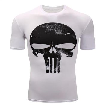 Punisher T-shirt 3D Print Skulls Compression Tshirt Short Sleeve Cosplay Workout Tees Shirt Men Fitness Jerseys Plus Size 4XL