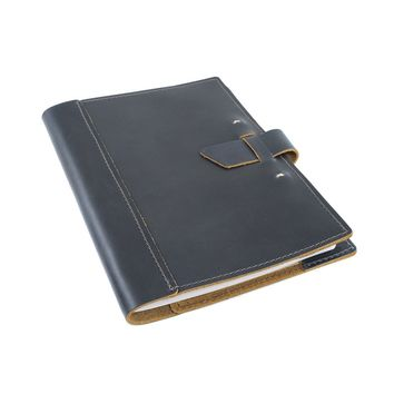 Large Leather Composition Notebook With Buckle - Ocean