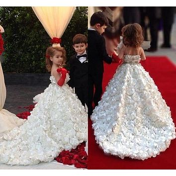 Flower Girls Dresses Full Handmade Rose Flowers Princess Ball Gown Ivory, Green, Gray, Black, Blue