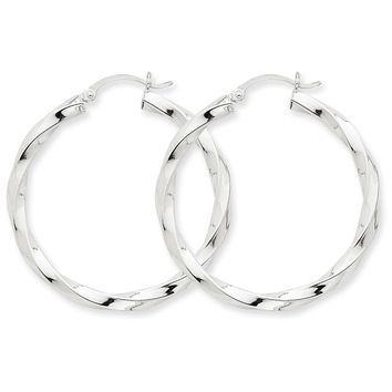 3mm x 38mm Polished 14k White Gold Large Twisted Round Hoop Earrings