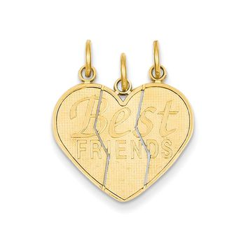 14k Yellow Gold Best Friends Heart Set of 3 Charm or Pendants, 21mm