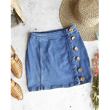 free people - little daisies button front denim mini skirt - medium wash blue