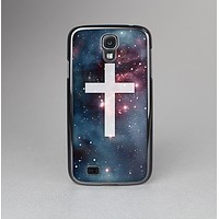 The Vector White Cross v2 over Bright Pink Nebula Space Skin-Sert Case for the Samsung Galaxy S4