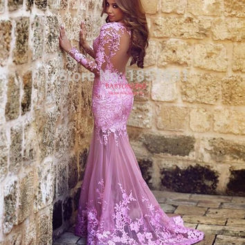 2016 Muslim Evening Dresses Mermaid Long Sleeves Pink Appliques Lace Islamic Dubai Abaya Kaftan Long Evening Gown Prom Dress