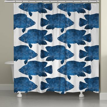 Indigo Fish Shower Curtain