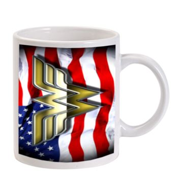 Gift Mugs | Wonder Woman American Flag Ceramic Coffee Mugs