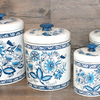 Vintage Ransburg Blue and Turquoise Floral Tole Canister Set