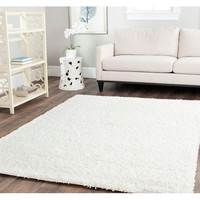 Safavieh SG151-1010-27 Shag White Runner: 2 Ft. 3 In. x 7 Ft. In. Area Rug - (In Runner)