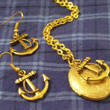 Vintage Brass Locket with Antiqued Gold Plated Ship Anchor Nautical Necklace & Anchor Earrings Set, Also Available Separately
