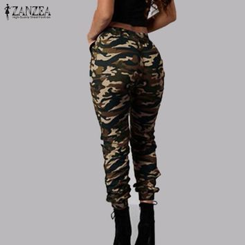 Camouflage Printed Elastic Waist Full Length Pants Trousers Plus Size