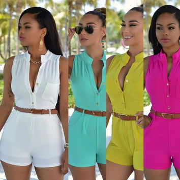 2016 Summer Women Bodysuit Rompers Womens Jumpsuit Sexy Shorts Bodycon Sleeveless Jumpsuits With Belt EU22