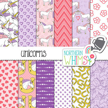Unicorn Digital Paper - pink and purple seamless patterns with unicorns & hearts - girls scrapbook paper - printable paper - commercial use