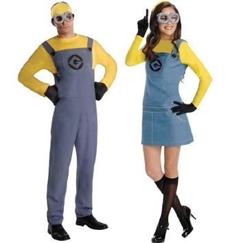 Despicable me Cosplay Uniforms Minions T Shirt Tops and Rompers Women Set Mary Halloween Costumes for Women Men