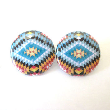 Navajo Tribal Earrings, 1 Inch Round, Stud Earrings, Geometric, Aztec, Tribal, Jewelry, Custom Colors