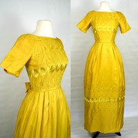 1970s Golden Yellow Formal Dress