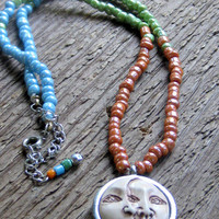 Moon Face Pendant Necklace