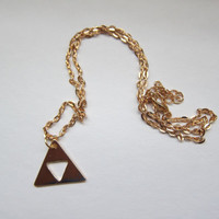 Legend of Zelda gold plated triforce logo  *chain or keychain custom made*