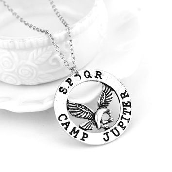 Movie Percy Jackson necklace camp half blood fly horse pendant jewelry leather Men Women Cosplay Christmas Party Gift