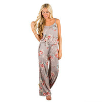Women's Khaki Floral Print Sleeveless Tank Top Romper/Jumpsuit with Drawstring Waist and Pockets