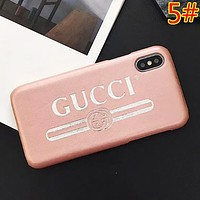 GUCCI Fashion New Letter Print Leather Case Couple Personality Phone Case Protective Cover