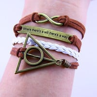 Bracelet,Harry porter Deathy Hallows bracelet,One direction infinity bracelet,where there's will there is a way
