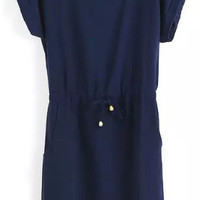 Navy Blue Short Sleeve Tie Waist Shift Dress