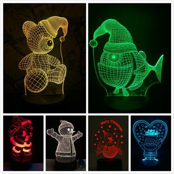 New 2018 3D Lamp LED Night Light Santa Claus Tree Snow Man Cute Bear Fish Hat Xmas Christmas Gift Decorations for Home