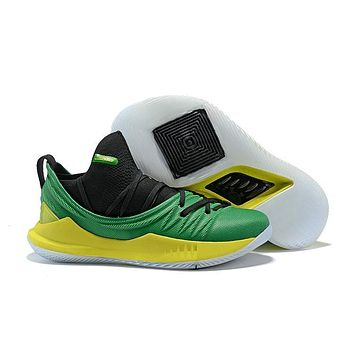 Under Armour Curry 5 Low Black/Green/Yellow Basketball Shoe