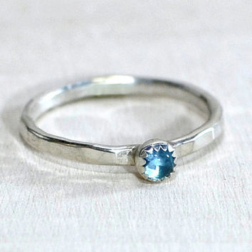 Blue Topaz ring and Custom Handmade Hammered Band for Engagements, Cocktail Parties, or Stacking - RG222