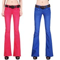 2015 new women casual flare jeans Candy color softener denim trousers tight wide leg Ladies' Jeans 100% cotton sexy boot cut