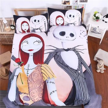 3pcs Bedding Set Nightmare Before Christmas Gift Home Cool Design Duvet Cover Twin Full Queen King size