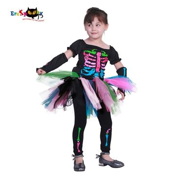 Cool Eraspooky Carnival Toddler Dress Scary Halloween Costume for Kids Skull Lace Dresses Skeleton Cosplay Children Party Fancy DressAT_93_12