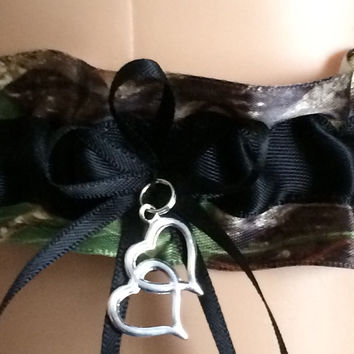 Black Mossy Oak Wedding Garter, Prom Garter