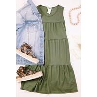 Can I Call You Mine? Sleeveless Babydoll Dress, Olive