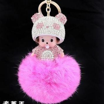 VONEFX8 2017 new panda Bunny Monkey Keychain real fur pom pom cartoon crystal Ball pompom Key chain ring women charm bag car pendant