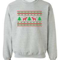 Festive Threads - Ugly Christmas Sweater Design (Deer Design) - Gift Adult Crewneck Sweatshirt (Ass