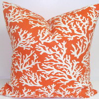 CORAL BRANCHES.Orange Pillow.18x18 inch.Greek Key.Decorative Pillow Cover.Printed Fabric Front and Back.Nautical.Sea.Beach.Indoor.Outdoor