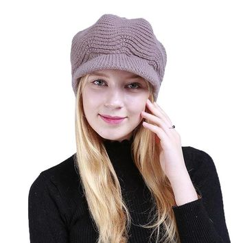 Sports Hat Cap trendy  Lady Winter Caps Acrylic Beanies with Brim Hats Sports Knitted Warm Berets XRQ88 KO_16_1
