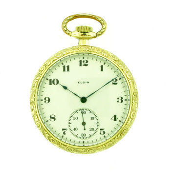 Elgin Gold Filled Open Face Manual Pocket Watch c. 1922