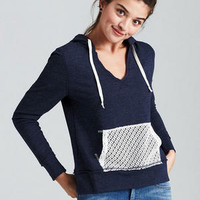 Lace Pocket Pullover - Navy
