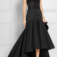 Marchesa - Feather-embellished silk-blend faille gown