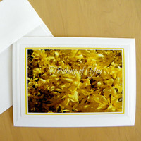 THINKING of YOU, Photo Greeting Card, Friendship, Handmade, Forsythia, coordinating envelope