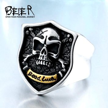 New Store Dropshipping Biker Skull Ring For Man Stainless Steel Unique Punk Men Cool Vintage good luchky Jewelry BR8-469