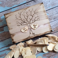 Rustic wedding guest book alternative / guest book / memory box / wedding wishes / wood burned box / keepsake box