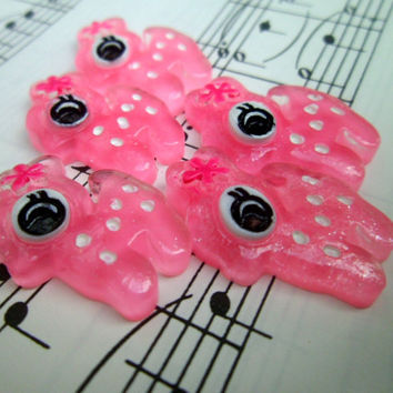 Kawaii Cabochons Flatbacks - Cute Pink Deer - 5 Pieces